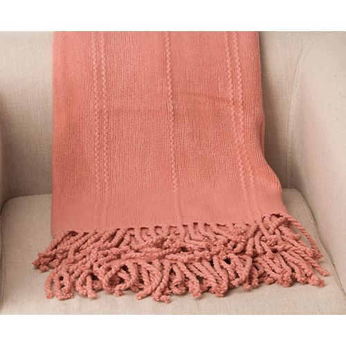 """Battilo Home Cable Knit Woven Luxury Throw Blanket With Tasseled Ends 50""""x 60"""" Salmon"""