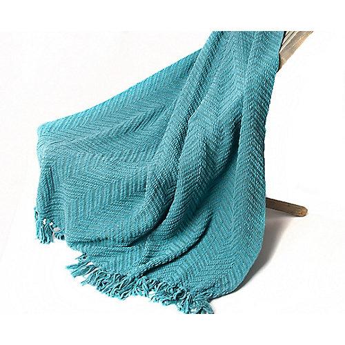 "Boon Knit Zig-Zag Textured Woven Throw/Blanket, 60"" x 50"" Turq Green"