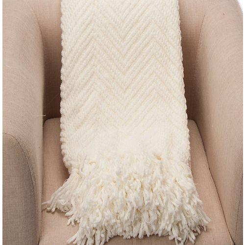 """Couverture / Couverture tissée texturée Zig-Zag Boon, grand 56 """"x90"""", Blanc"""