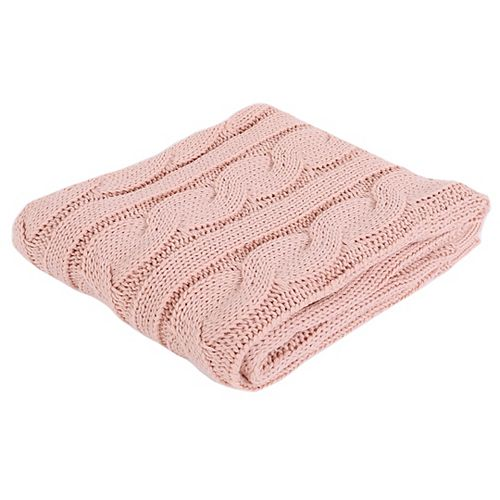 """Cable Knit Soft Cozy Snuggle TV Blanket, 50""""x60"""" Blush"""