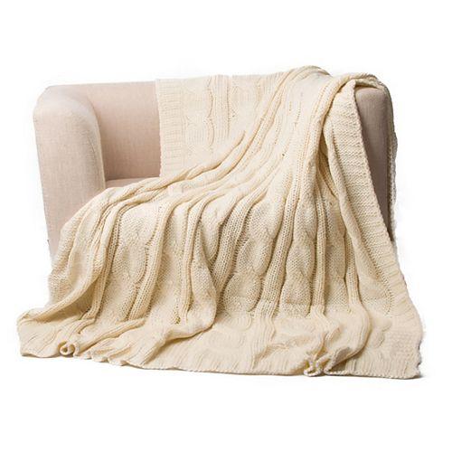"""Couverture de télévision douillette Snuggle Soft Knit, 50 """"x60"""" crème"""