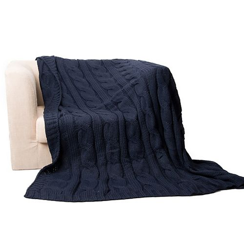 "Cable Knit Soft Cozy Snuggle TV Blanket, 50""x60"" Navy"