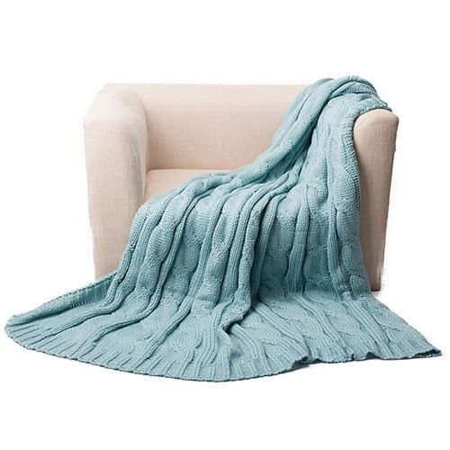 """Cable Knit Soft Cozy Snuggle TV Blanket, 50""""x60"""" Plae Blue"""