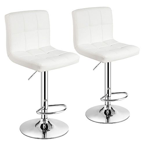 White Leatherette Bar Stool with Adjustable Height, 360 Swivel and Mid-Backrest - Set of 2