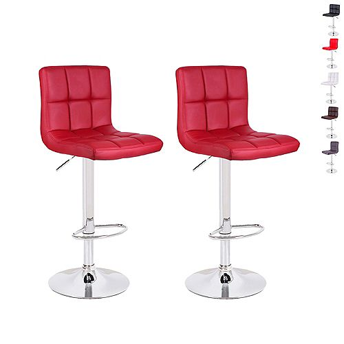 Deep Red Leatherette Bar Stool with Adjustable Height, 360 Swivel and Mid-Backrest - Set of 2
