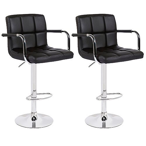 Black Leatherette Bar Stool with Adjustable Height, 360 Swivel and Mid-Backrest - Set of 2