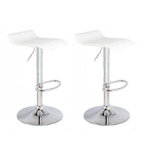 White Leatherette Bar Stool with Adjustable Height, 360 Swivel and Low Backrest - Set of 2