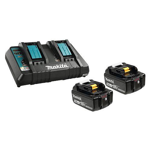 MAKITA 18V 2 x 5.0Ah Li-Ion Battery & Dual-Port Charger Kit