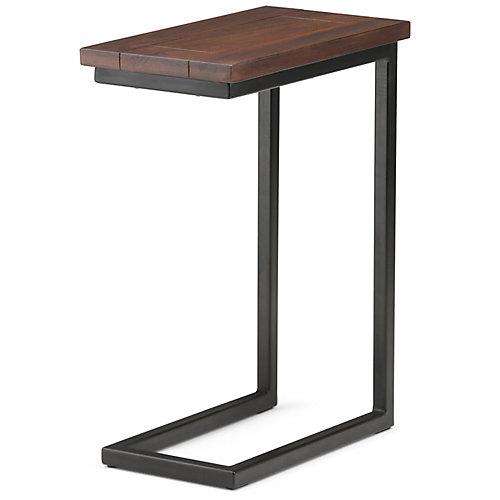 Skyler Solid Mango Wood 18 inch Wide Industrial C Side Table in Dark Cognac Brown, Fully Assembled