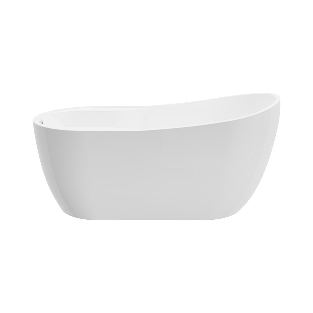 A&E Bath and Shower Mara 4.9-ft. Acrylic Free-Standing Oval Bathtub with Reversible Drain in White
