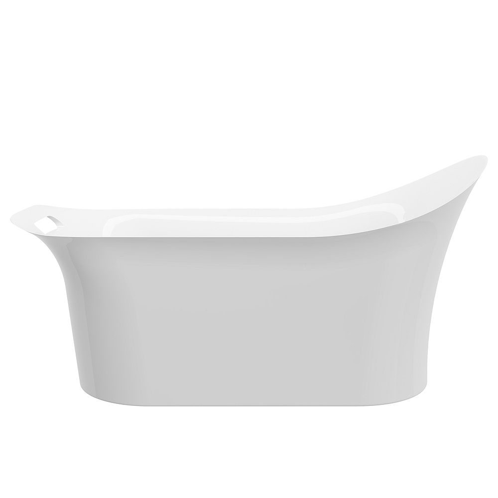 A&E Bath and Shower Sona 5.3-ft. Acrylic Free-Standing Oval Bathtub with Reversible Drain in White
