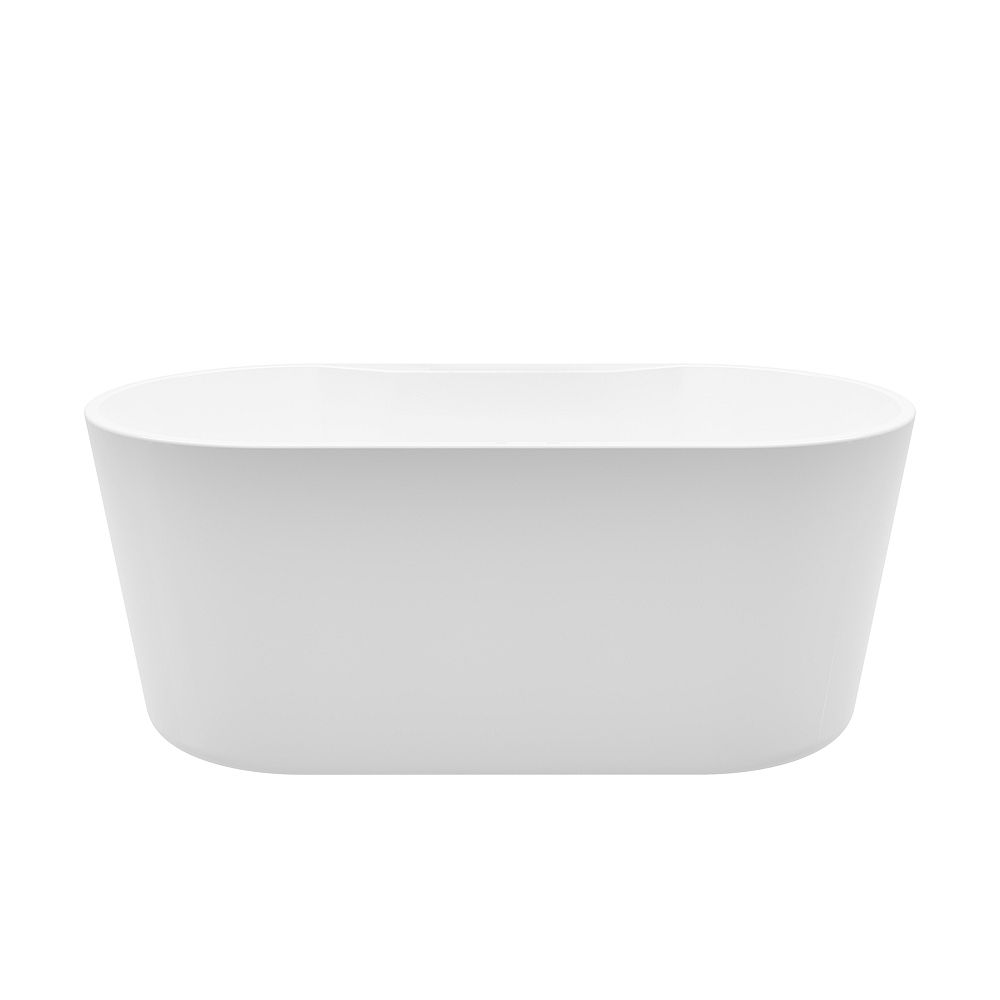 A&E Bath and Shower Coral 4.7-ft. Acrylic Free-Standing Oval Bathtub with Center Drain in White