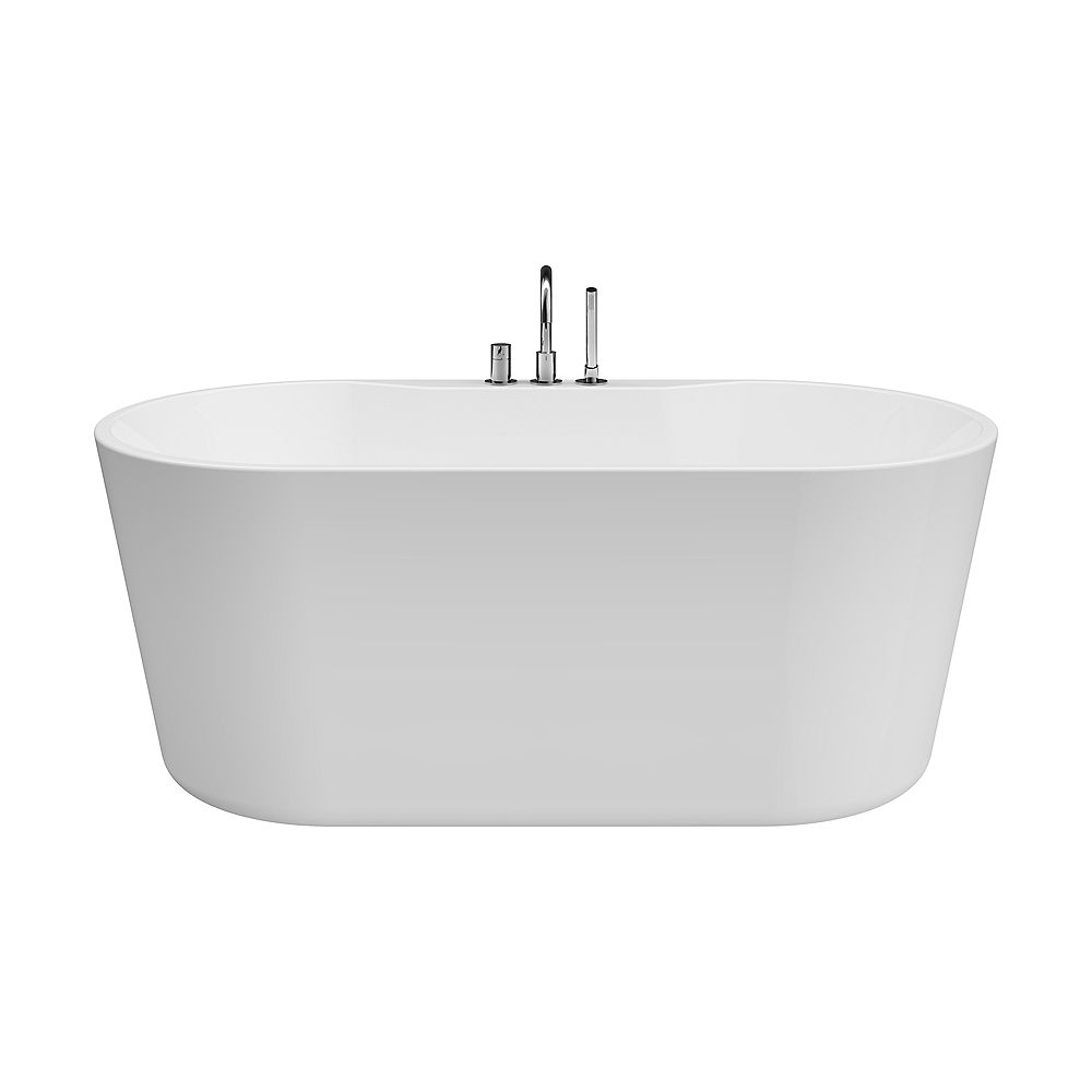 A&E Bath and Shower Sion 5.2-ft. Acrylic Free-Standing Oval Bathtub with Center Drain in White with Faucet