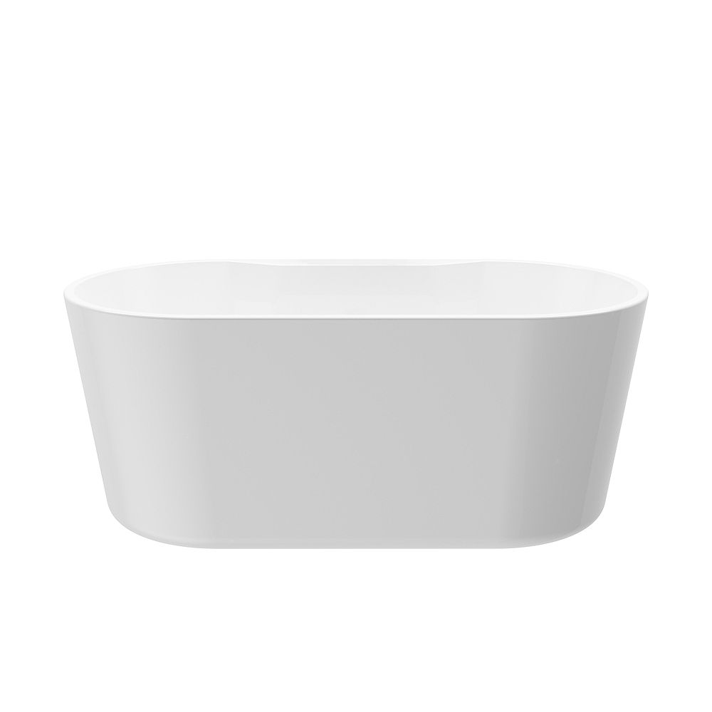 A&E Bath and Shower Sion 5.2-ft. Acrylic Free-Standing Oval Bathtub with Center Drain in White