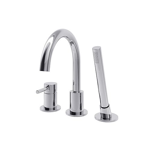 Estelle Single-Handle Deck Mount Tub Faucet with Hand Shower in Polished Chrome