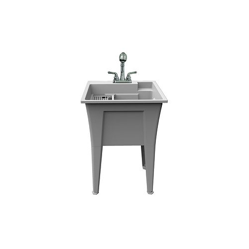 Selene Free-Standing Laundry Tub in White with Faucet