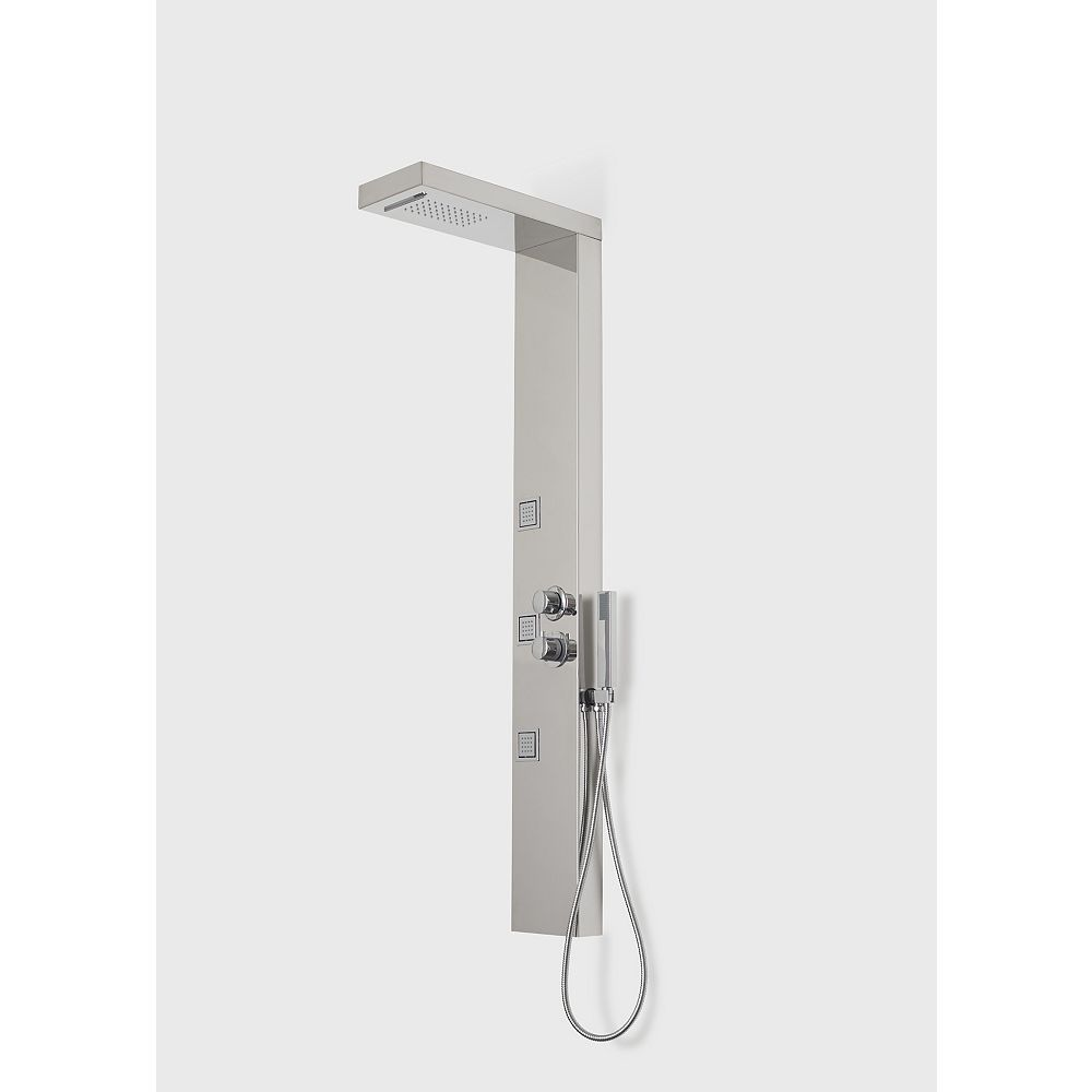 A&E Bath and Shower Capri V Shower Panel System with Rain Showerhead, Body Jets and Handshower in Chrome