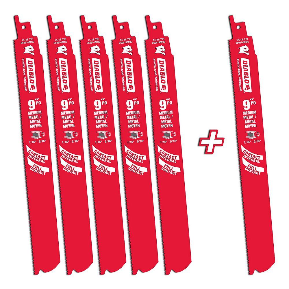 Diablo 9-inch 14/18 TPI Bi-Metal Reciprocating Saw Blade for Medium Metal Cutting (6-Pack)