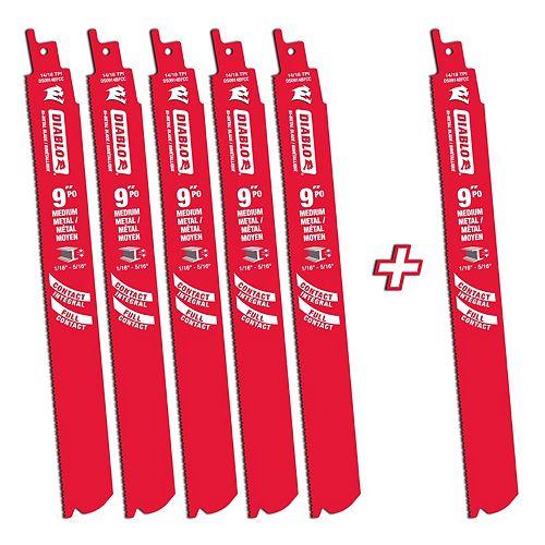 9-inch 14/18 TPI Bi-Metal Reciprocating Saw Blade for Medium Metal Cutting (6-Pack)