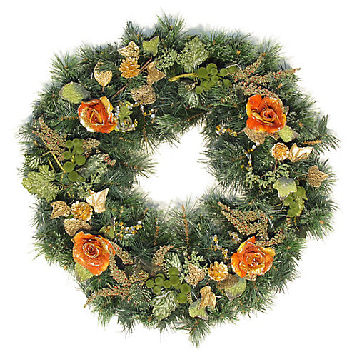 30 inch Decorated Wreath Roses