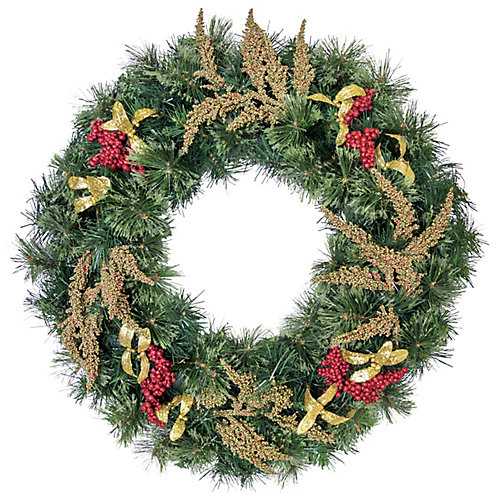 30 inch Decorated Wreath Taupe