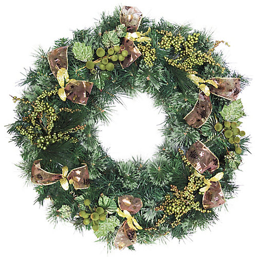 30 inch Decorated Wreath Brown