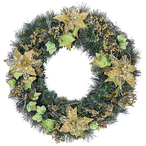 30 inch Decorated Wreath Gold