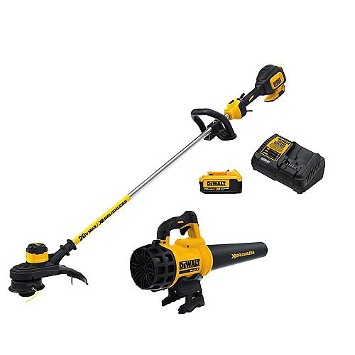 20V MAX Lithium-Ion Cordless String Trimmer and Blower Combo Kit (2-Tool), (1) 4.0Ah Battery and Charger Included