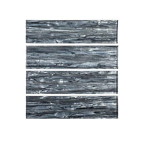 Carreau mural en verre de 3 po x 12 po, gris ormeau (1 pi2/boîte)