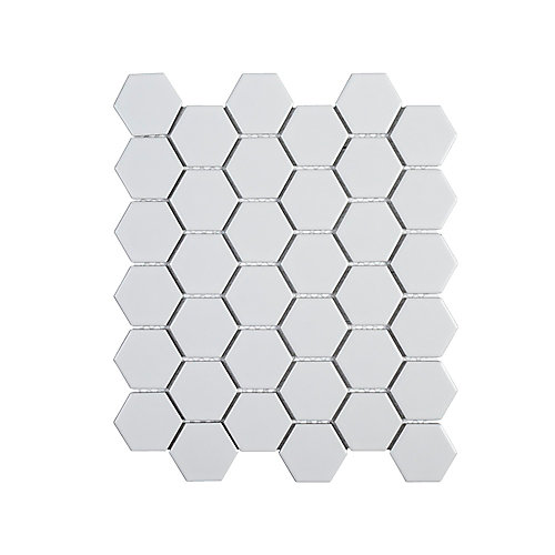 Callalily White Honeycomb 12.375-inch  x 10.875-inch  x 6 mm Porcelain Mosaic