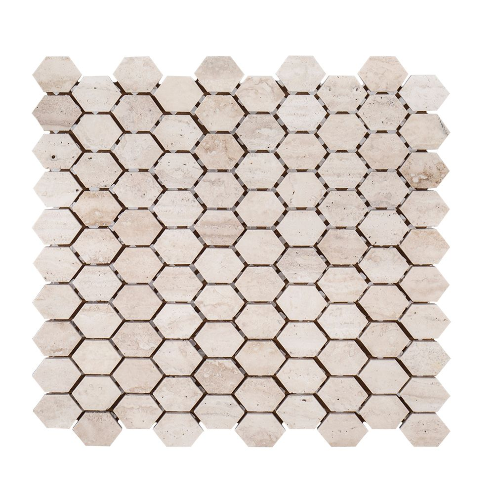 Travertine Constellation  10.875-inch  x 11.625-inch  x 8mm Honed Marble Mosaic Tile