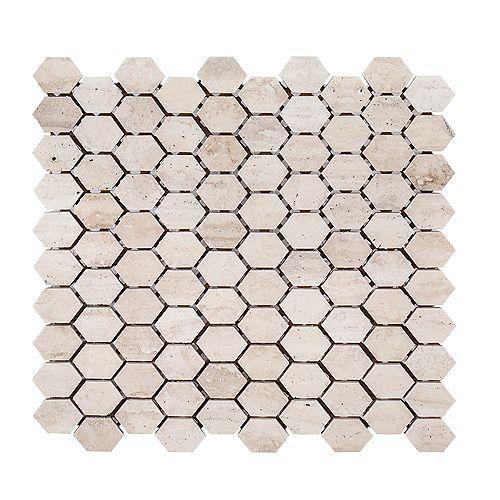 Jeffrey Court Travertine Constellation  10.875-inch  x 11.625-inch  x 8mm Honed Marble Mosaic Tile