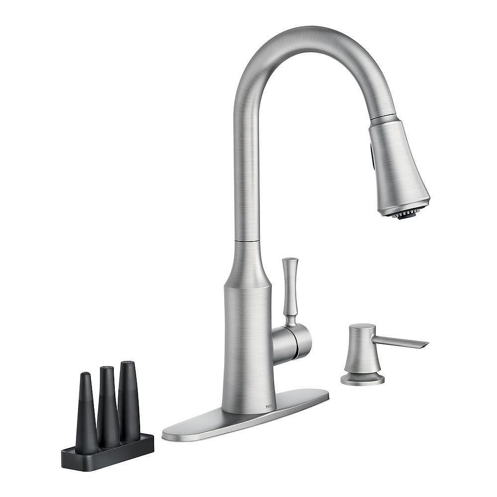 MOEN Venango Single-Handle Pull-Down Kitchen Faucet in Spot Resist Stainless