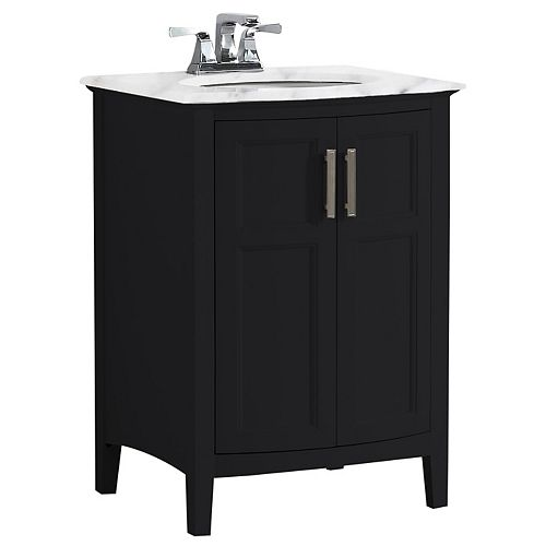 Winston 24 inch Contemporary Bath Vanity in Black with Bombay White Engineered Quartz Marble