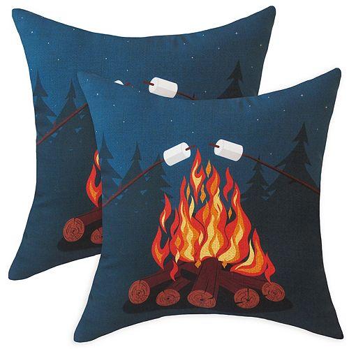 Coussin décoratif d'extérieur à motif de feu de camp, 20 po x 20 po, ens. de 2
