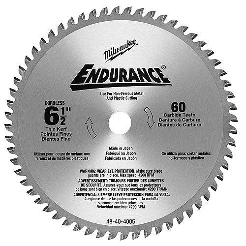 Lame de scie circulaire de 6-1/2 pouces X 60 dents pour la coupe de métaux non ferreux