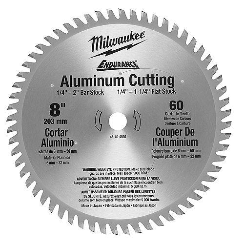Dents en carbure de 8 po x 60 po Lame de scie circulaire à métaux en aluminium pour scie circulaire à lame en carbure