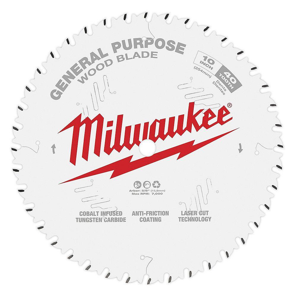 Milwaukee Tool Lame de scie circulaire d'usage général de 10 po x 40 dents