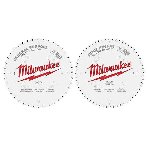 Milwaukee Tool Lames de scie circulaire de 10 po x 40 po et 60 po (paquet de 2)
