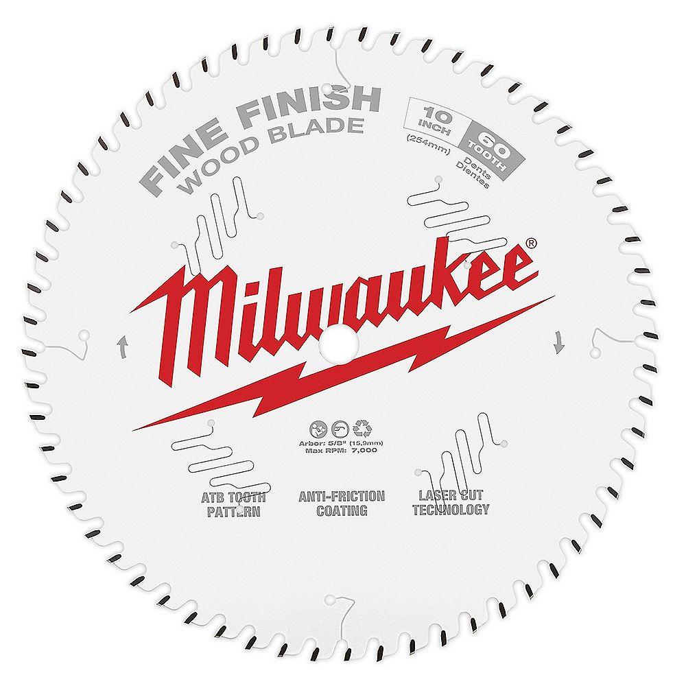 Milwaukee Tool Lame de scie circulaire en carbure à finition fine de 10 pouces x 60 dents