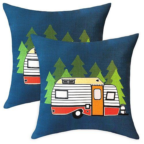 Coussin décoratif d'extérieur à motif de roulotte de camping, 20 po x 20 po, ens. de 2