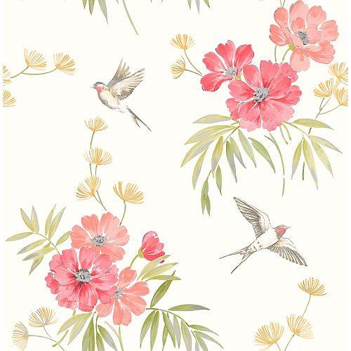 Papier peint à fleurs Riva, rose