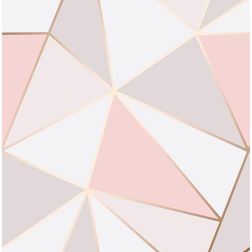Papier peint géométrique Arken Rose d'or