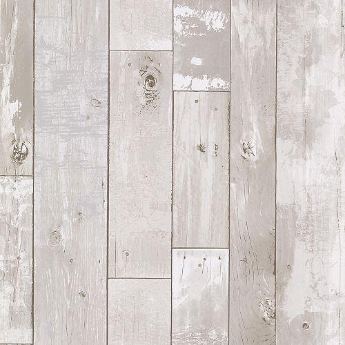 Papier peint en panneaux de bois vieilli Heim, blanc
