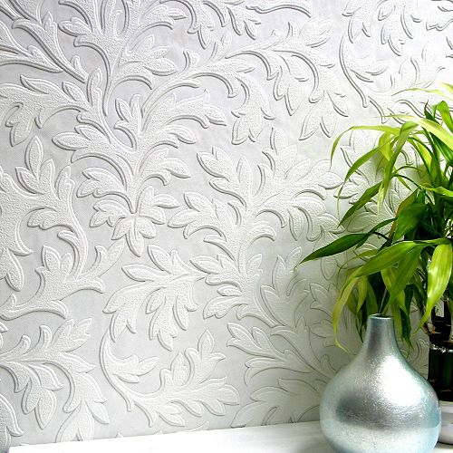 Papier peint vinyle texturé à peindre à feuilles élevées