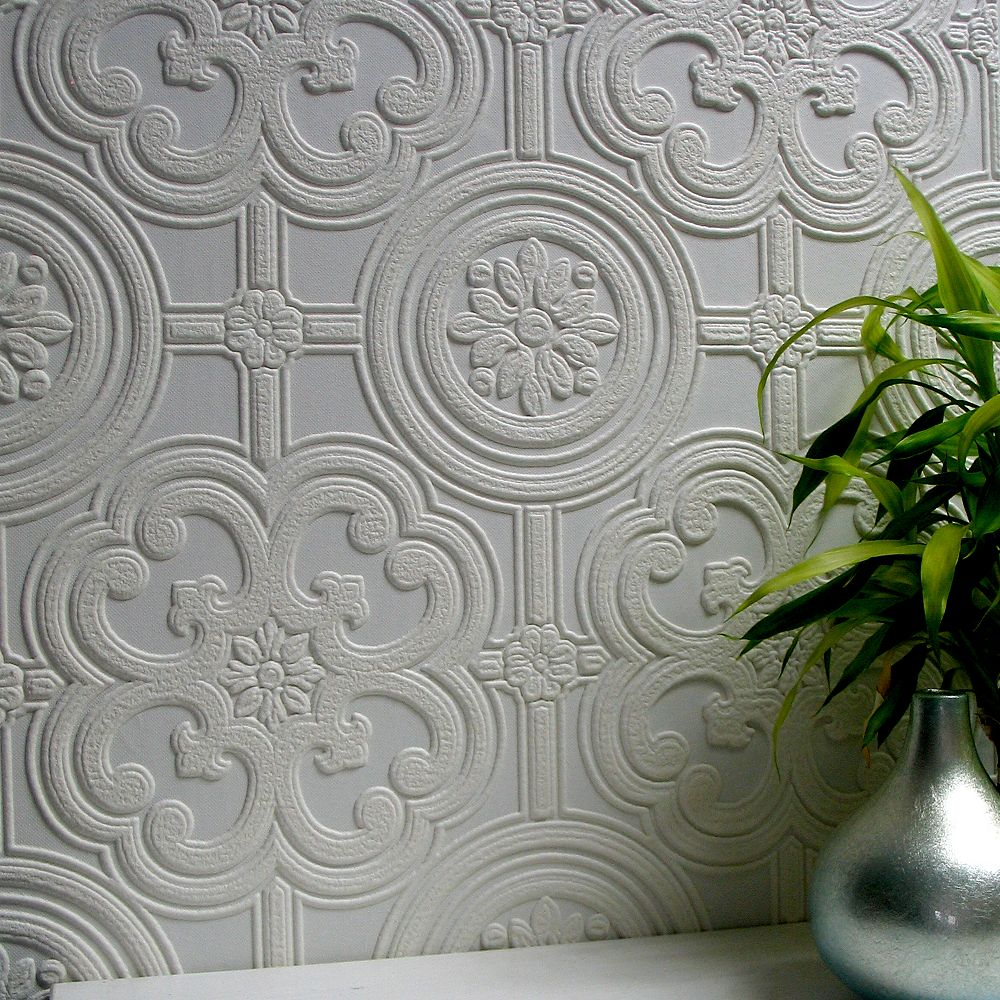 Brewster Home Fashions Papier Peint Vinyle Texture A Peindre Egon Home Depot Canada