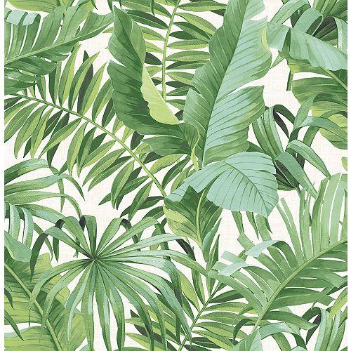 Alfresco Green Palm Leaf Wallpaper