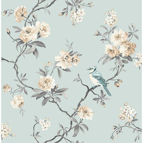 Papier peint à fleurs chinoiserie, bleu