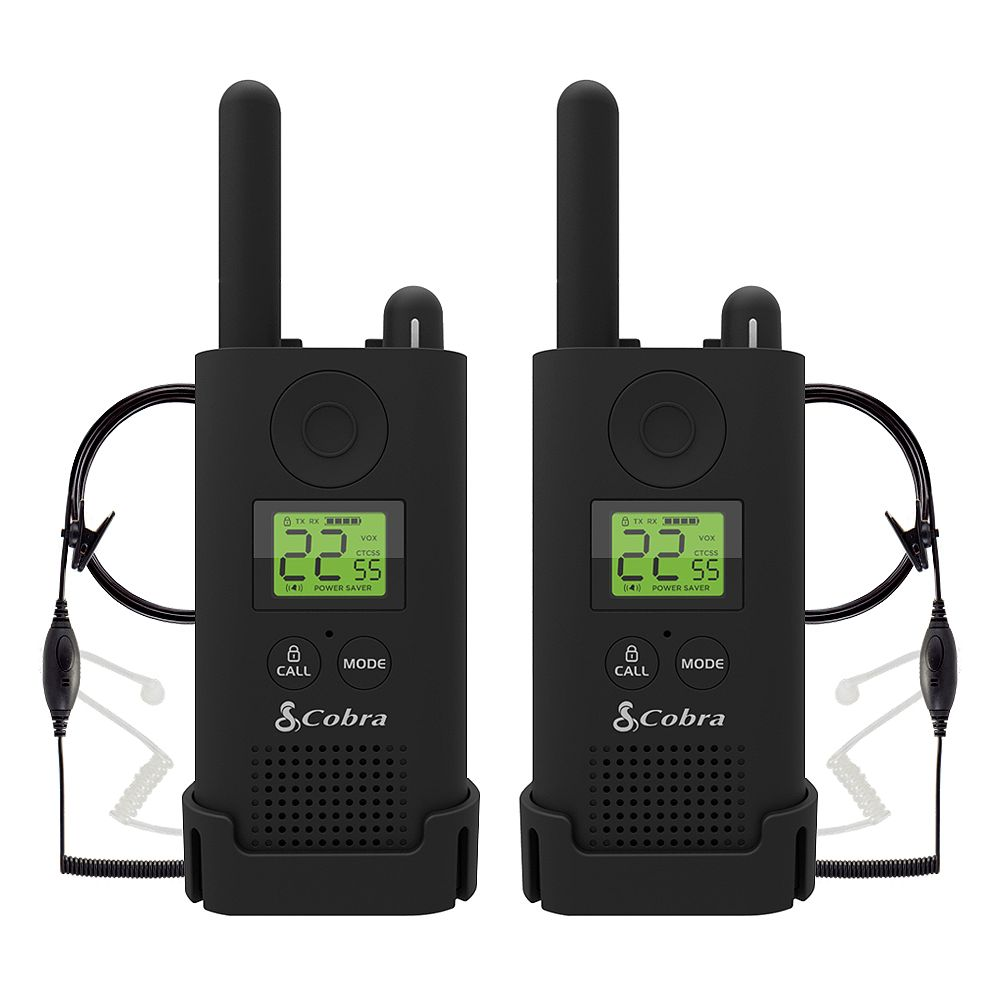 Cobra Pro MicroTALK 23-Mile, 22 Channel FRS/GMRS 2 Way Radios with Surveillance Headsets -2 Pack