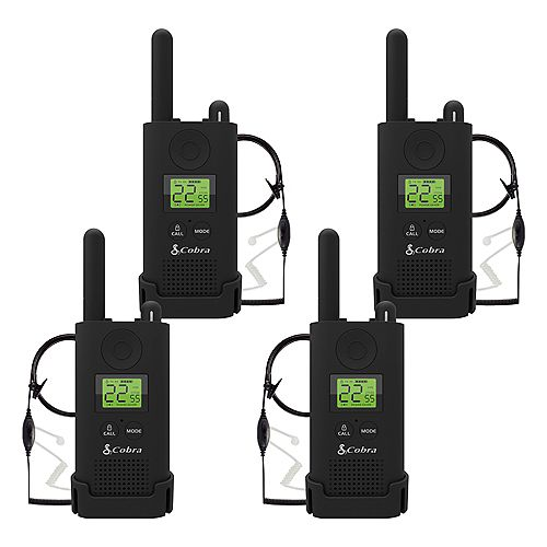 Pro MicroTALK 23-Mile, 22 Channel FRS/GMRS 2 Way Radios with Surveillance Headsets -4 Pack